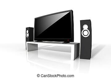definição, televisão, alto