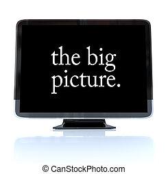 definição, televisão, quadro, grande, -, alto, hdtv