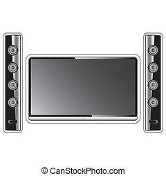 definição, televisão, teatro, modernos, isolado, alto, fundo, lar, speakers., branca
