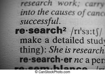 definición, de, el, palabra, investigación