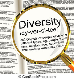 definición, diferente, diversidad, carrera, mezclado, lupa, diverso, exposiciones
