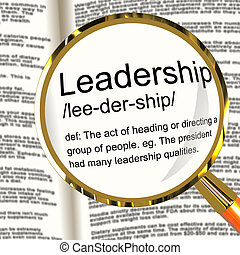 definición, dirección, liderazgo, activo, lupa, logro, ...