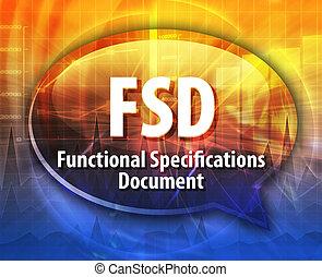 definición, fsd, siglas, ilustración, burbuja del discurso