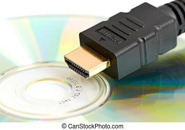 definición, hdmi, cable, dvd, -, alto, disco, blanco