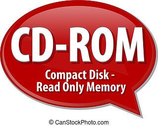 definición, siglas, cd-rom, ilustración, burbuja del ...