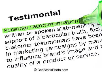 definición, testimonial