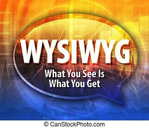 definicja, akronim, ilustracja, wysiwyg, bańka mowy