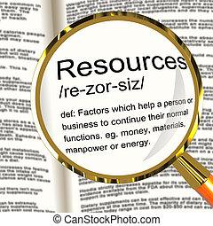 definicja, aktywa, handlowy, siła robocza, materiały, szkło powiększające, zasoby, widać