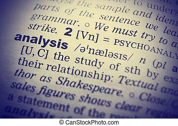 definicja, od, słowo, analiza, w, angielski, słownik