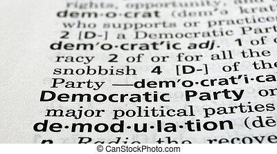 definido, fiesta, democrático