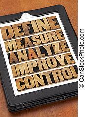 definiować, analizować, panowanie, ulepszać, miara