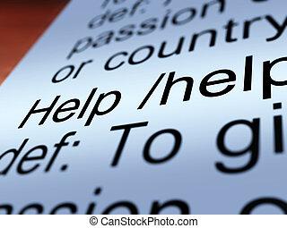 definitie, helpen, dienst, het tonen, closeup, steun