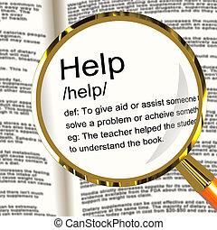 definitie, helpen, dienst, het tonen, steun, vergrootglas, hulp