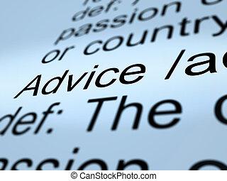 definitie, helpen, raad, closeup, aanbeveling, het tonen