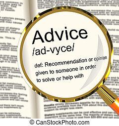 definitie, helpen, steun, aanbeveling, vergrootglas, raad, optredens