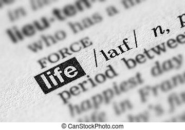 definitie, leven, woord, tekst