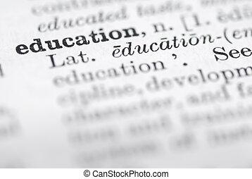 definitie, opleiding, dictionary., engelse
