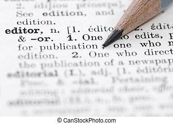 definitie, redacteur, dictionary., engelse