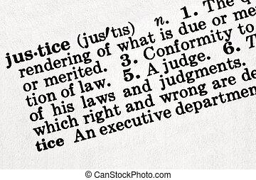 definitie, van, justitie