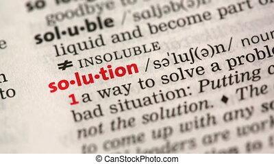 definitie, van, oplossing