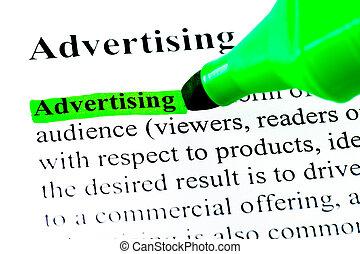 definitie, van, reclame, aangepunt