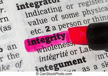 definitie, woordenboek, integriteit
