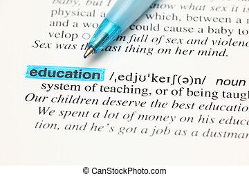 definitie, woordenboek, woord, opleiding