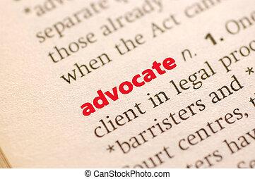 definition, i, advokat