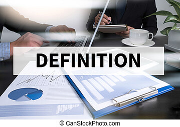 DEFINITION Image of man hand pointing at business document ...