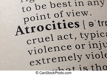 Fake Dictionary, Dictionary definition of the word atrocities. including key descriptive words.