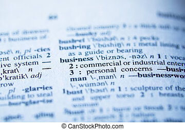 Definition of business in dictionary - selective focus