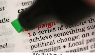 Definition of campaign highlighted in the dictionary