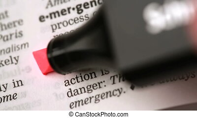 Definition of emergency highlighted in the dictionary