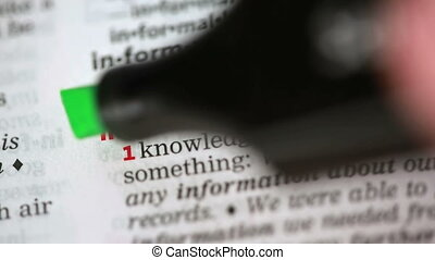 Definition of information highlighted in the dictionary