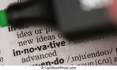 Definition of innovation highlighted in the dictionary
