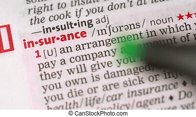 Definition of insurance highlighted in the dictionary