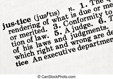 """Dictionary definition of the word """"justice"""", in sepia tone."""