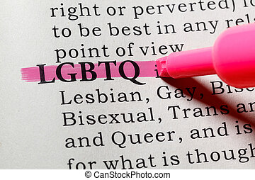 Fake Dictionary, Dictionary definition of the word LGBTQ. including key descriptive words.