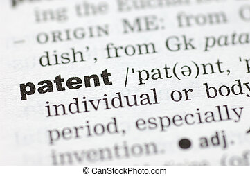A close up of the word patent from a dictionary