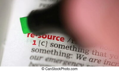 Definition of resource highlighted in the dictionary