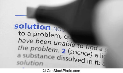 Definition of solution highlighted in the dictionary