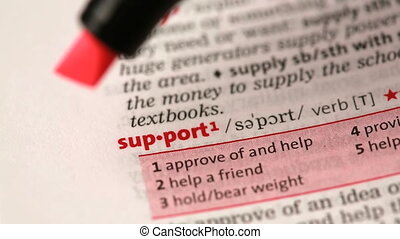 Definition of support highlighted in the dictionary