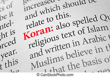 Definition of the word Koran in a dictionary