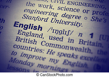 Definition of word English in dictionary. Macro shot
