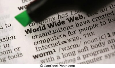 Definition of world wide web highlighted in the dictionary