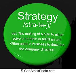 definizione, bottone, strategia, pianificazione, direzione, organizzazione, mostra