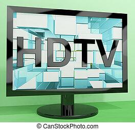 definizione, monitor televisione, tv, alto, hdtv, rappresentare, o