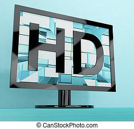 definizione, monitor televisione, tv, alto, rappresentare,...