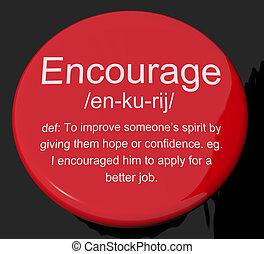 definizione, motivazione, bottone, incoraggiare, rassicurazione, ispirazione, mostra