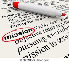 definizione, parola, dizionario, missione, pennarello, rosso